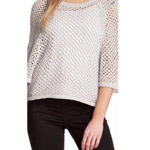 BCBGMaxAzria Light Pearl Gray Open Weave Sweater